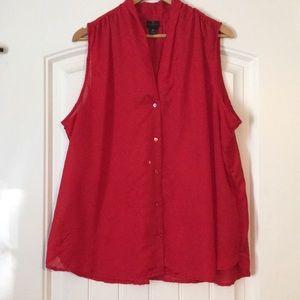 Sleeveless red lightweight button up blouse